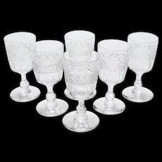Set of 6 Edwardian Sherry Glasses, Circa 1905