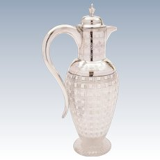 Victorian Cut Glass and Silver Plated Claret Jug, Circa 1880