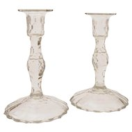 Pair of English Cut Glass Candlesticks, Circa 1830