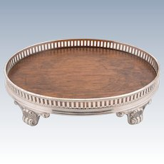 Small Oak and Silver Plated Card Gallery Tray, Circa 1890