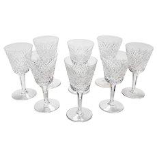 Set of 8 Vintage Waterford Crystal Wine Glasses, Circa 1980