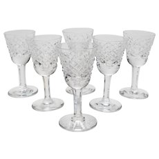 Set of 6 Vintage Waterford Crystal Sherry Glasses, Circa 1980