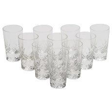 Set of 10 Cut Glass Shot Glasses, Circa 1930
