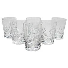 Set of 6 Cut Glass Whiskey Tumblers, Circa 1920