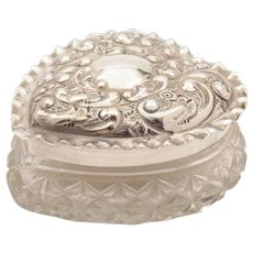 Edwardian Heart Shaped Silver Lidded Box, Birmingham 1901