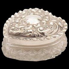 Edwardian Heart Shaped Silver Lidded Box, Birmingham 1901