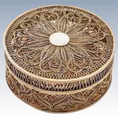Continental Silver Filigree Pill Box, Circa 1900
