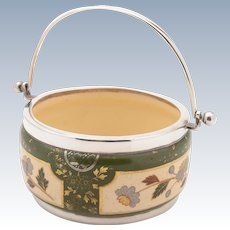 Victorian China and Silver Preserve Pot, Sheffield 1887