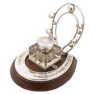 Oak and Silver Plated Horseshoe Ink Stand, Circa 1905