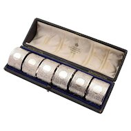 Cased Set of 6 Silver Plated Napkin Rings, Circa 1900