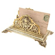 Victorian Brass Letter Rack, Circa 1890