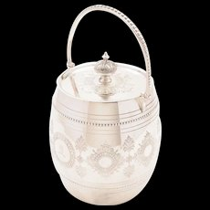 Victorian Silver Plated Biscuit Barrel, Circa 1880