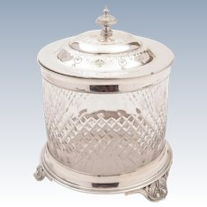Victorian Silver Plated and Cut Glass Biscuit Box, Circa 1890