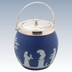 Wedgwood Blue Jasperware Biscuit Barrel, Circa 1900
