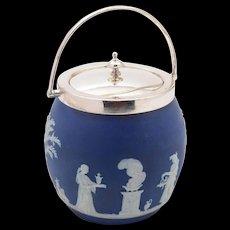 Wedgwood Blue Jasperware Biscuit Barrel, Circa 1900