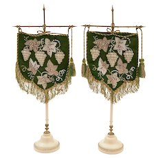 Pair of Victorian Beaded Face Fans, Circa 1870