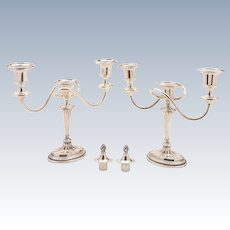 Pair of Georgian Style Silver Plated Candelabras, Circa 1900