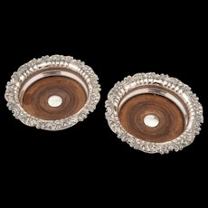 Pair of Victorian Sheffield Plated Coasters, Circa 1870