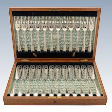 Cased Silver Plated 24 Piece Fish Set, Circa 1905
