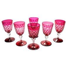 Victorian Set of 6 Wine Glasses, Circa 1890