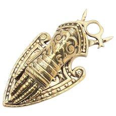 Victorian Brass Knights Gauntlet Note Holder, Circa 1890