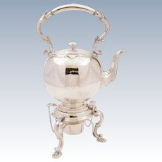 Victorian Silver Plated Tea Kettle On Stand, Circa 1890