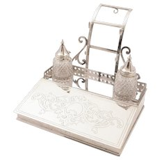 Victorian Silver Plated Ink Stand, 1868
