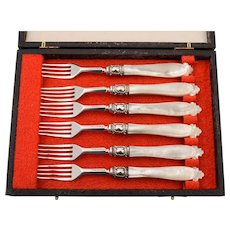 Set of 6 Silver and M.O.P Dessert Forks, Sheffield 1858