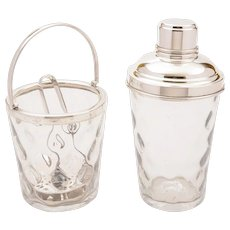 Glass & Silver Plated Cocktail Shaker with Ice Bucket, Circa 1930
