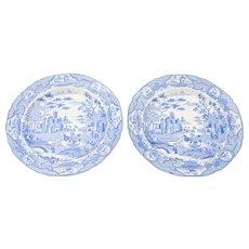 Pair of English Blue and White China Plates, Circa 1830