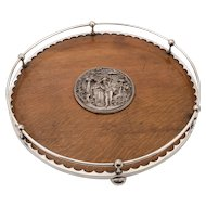Victorian Circular Oak Gallery Tray, Circa 1890