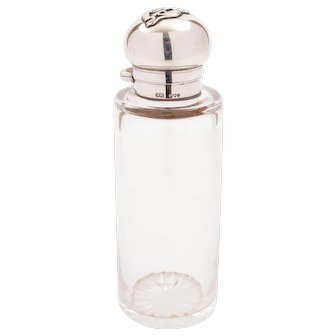Victorian Silver Topped Flask, Birmingham 1890