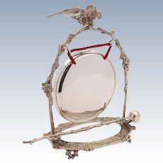 Victorian Silver Plated Novelty Dinner Gong, Circa 1890