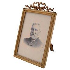Edwardian Brass Ribbon Topped Photo Frame