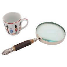 Large Silver and Antler Handled Magnifying Glass