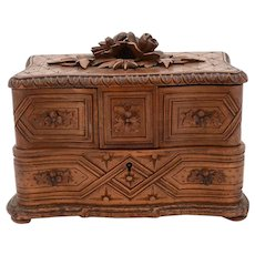 Carved Black Forest Jewellery Box, Circa 1900