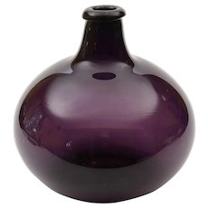 Georgian Large Amethyst Glass Flask, Circa 1800