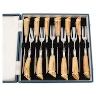 Vintage Antler Handled Steak Set, Circa 1960