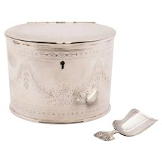 Victorian Silver Plated Oval Tea Caddy, Circa 1880