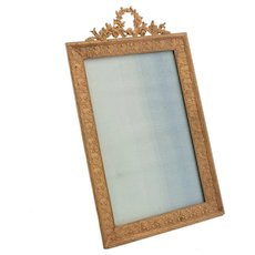 Edwardian English Brass Garland Topped Photo Frame