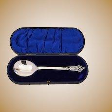 Cased Edwardian Silver Serving Spoon, Sheffield 1905