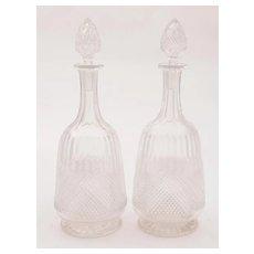 Pair of Edwardian Cut Glass Decanters, Circa 1905