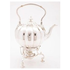 Victorian Silver Plated Tea Kettle On Stand, Circa 1870