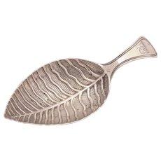 Georgian Silver Leaf Caddy Spoon, Birmingham 1800