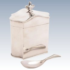 Edwardian Silver Plated tea Caddy with Spoon, Circa 1905