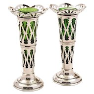 Pair of Silver and Green Glass Vases, Birmingham 1911