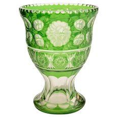 Clear and Green Cut Glass Vase, Circa 1900