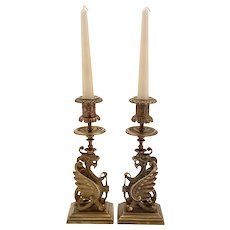 Pair of French Brass Griffin Candlesticks, Circa 1900