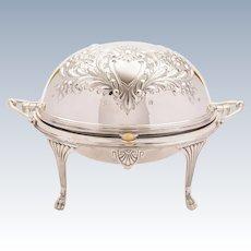 Victorian Silver Plated Rollover Dish, Circa 1890