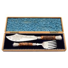 Cased Victorian Antler Handled Fish Servers, 1883
